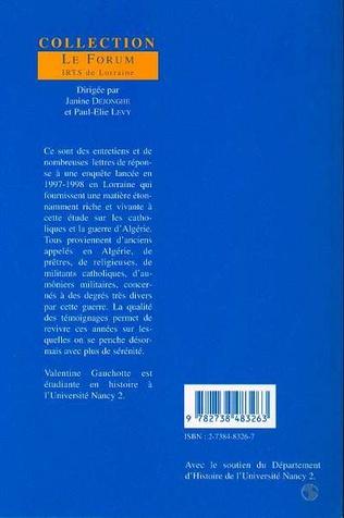 4eme LES CATHOLIQUES EN LORRAINE ET LA GUERRE D'ALGERIE