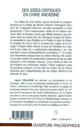 4eme IDEES (DES) CRITIQUES EN CHINE ANCIENNE