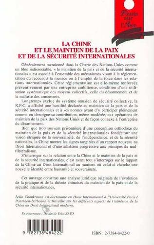4eme LA CHINE ET LE MAINTIEN DE LA PAIX ET DE LA SÉCURITÉ INTERNATIONALES