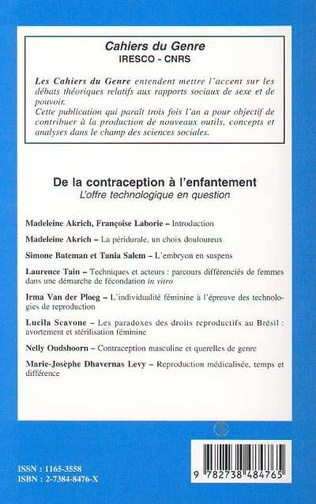 4eme CONTRACEPTION (DE LA) A L'ENFANTEMENT