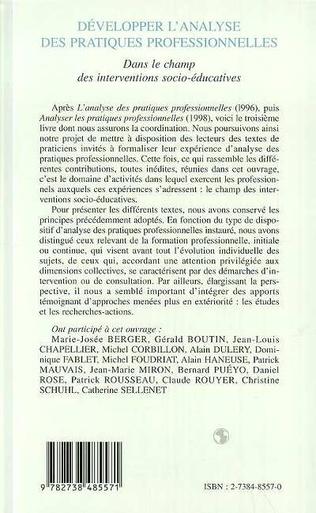 4eme DÉVELOPPER L'ANALYSE DES PRATIQUES PROFESSIONNELLES