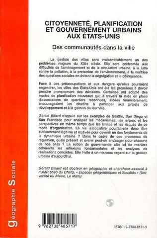 4eme CITOYENNETE, PLANIFICATION ET GOUVERNEMENT URBAINS AUX ETATS-UNIS