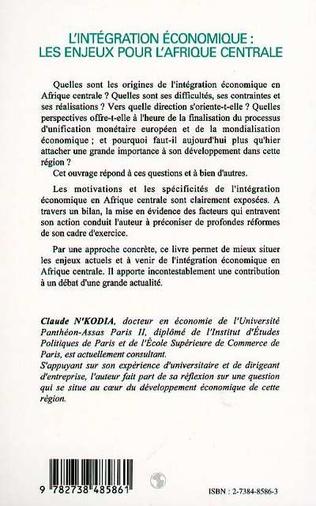 4eme L'INTEGRATION ECONOMIQUE : LES ENJEUX POUR L'AFRIQUE CENTRALE