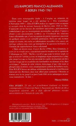 4eme LES RAPPORTS FRANCO-ALLEMANDS A BERLIN 1945-1961