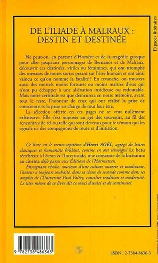 4eme L'ILIADE (DE) A MALRAUX : DESTIN ET DESTINEE