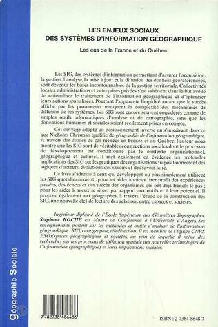 4eme LES ENJEUX SOCIAUX DES SYSTEMES D'INFORMATION GEOGRAPHIQUE