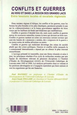 4eme CONFLITS ET GUERRES AU KIVU ET DANS LA RÉGION DES GRANDS LACS (n° 39-40)
