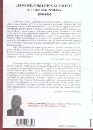4eme JEUNESSE, FORMATION ET SOCIÉTÉ AU CONGO/KINSHASA 1890-1960