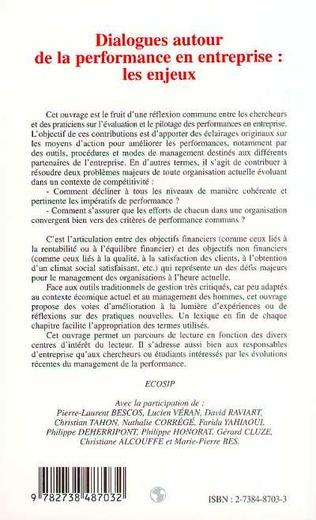 4eme DIALOGUE AUTOUR DE LA PERFORMANCE EN ENTREPRISE : LES ENJEUX