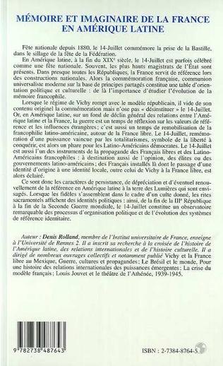 4eme MEMOIRE ET IMAGINAIRE DE LA FRANCE EN AMERIQUE LATINE