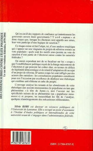 4eme CITOYENNES (DES) SUISSES CONTRE L'ÉLITE POLITIQUE
