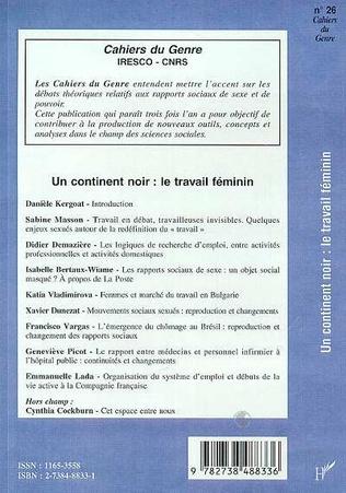 4eme CONTINENT (UN) NOIR : LE TRAVAIL FEMININ