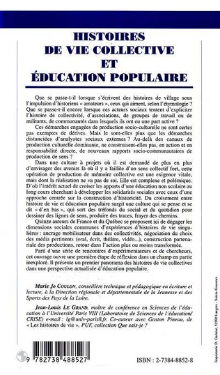 4eme HISTOIRES DE VIE COLLECTIVE ET EDUCATION POPULAIRE