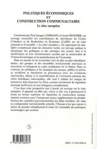 4eme POLITIQUES ECONOMIQUES ET CONSTRUCTION COMMUNAUTAIRE