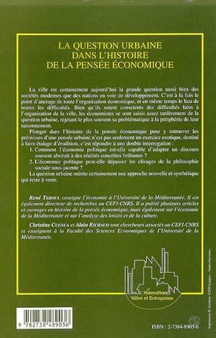 4eme LA QUESTION URBAINE DANS L'HISTOIRE DE LA PENSÉE ÉCONOMIQUE