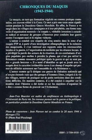 4eme CHRONIQUES DU MAQUIS (1943-1944)
