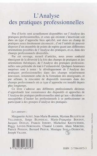 4eme L'analyse des pratiques : questions conceptuelles