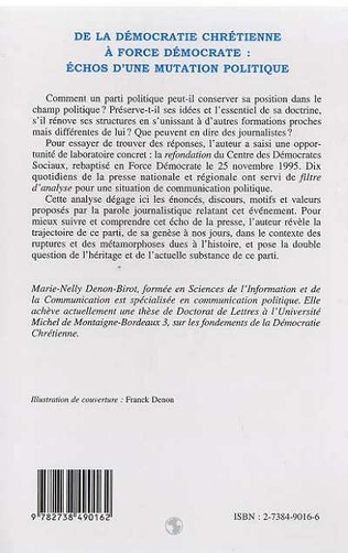 4eme DÉMOCRATIE (DE LA) CHRÉTIENNE À FORCE DÉMOCRATE