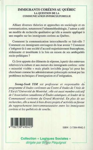 4eme IMMIGRANTS COREENS AU QUEBEC