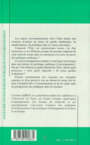4eme ANALYSER LES POLITIQUES PUBLIQUES D'ENVIRONNEMENT