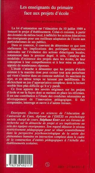 4eme LES ENSEIGNANTS DU PRIMAIRE FACE AUX PROJETS D'ECOLE