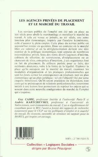 4eme LES AGENCES PRIVEES DE PLACEMENT ET LE MARCHE DU TRAVAIL