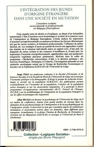 4eme L'INTÉGRATION DES JEUNES D'ORIGINE ÉTRANGÈRE DANS UNE SOCIÉTÉ EN MUTATION