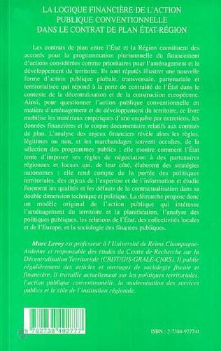 4eme LA LOGIQUE FINANCIERE DE L'ACTION PUBLIQUE CONVENTIONNELLE DANS LE CONTRAT DE PLAN ETAT-REGION