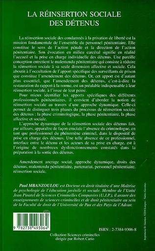 4eme LA REINSERTION SOCIALE DES DETENUS