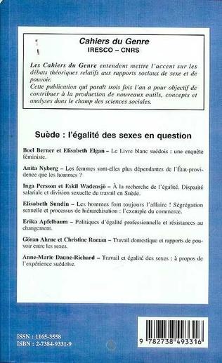 4eme SUEDE : L'EGALITE DES SEXES EN QUESTION