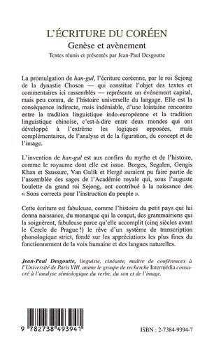 4eme L'ÉCRITURE DU CORÉEN