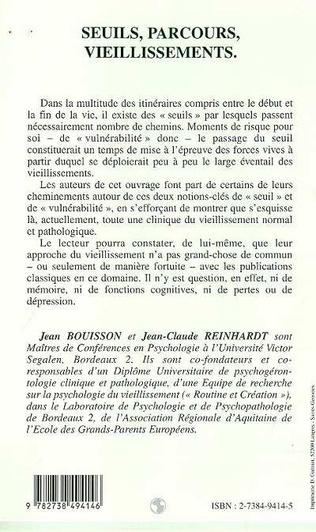 4eme SEUILS, PARCOURS, VIEILLISSEMENTS