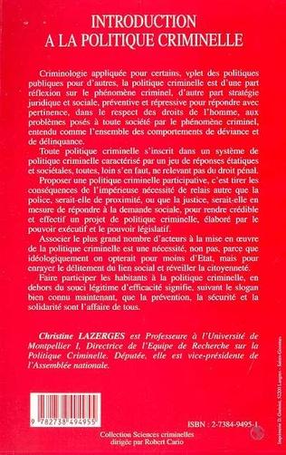 4eme INTRODUCTION À LA POLITIQUE CRIMINELLE