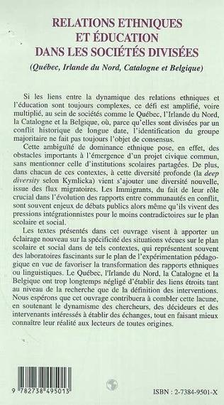 4eme RELATIONS ETHNIQUES ET ÉDUCATION DANS LES SOCIÉTÉS DIVISÉES