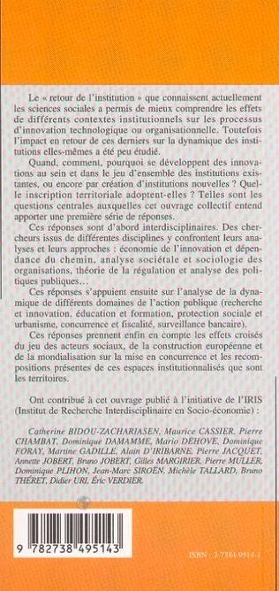 4eme INNOVATIONS INSTITUTIONNELLES ET TERRITOIRES
