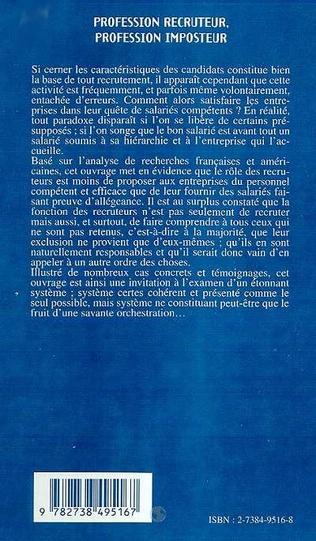 4eme PROFESSION RECRUTEUR ; PROFESSION IMPOSTEUR