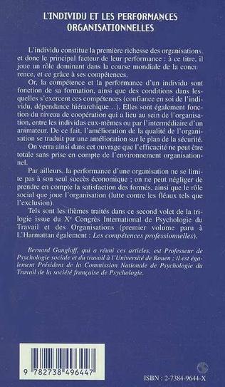 4eme L'INDIVIDU ET LES PERFORMANCES ORGANISATIONNELLES