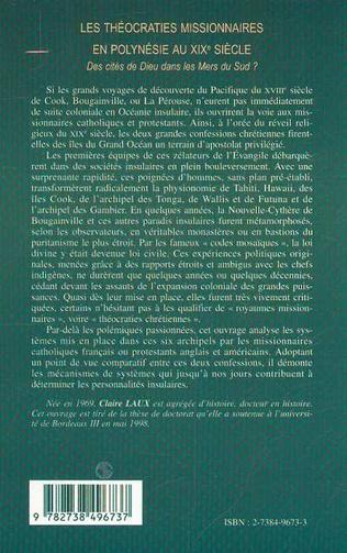 4eme LES THÉOCRATIES MISSIONNAIRES EN POLYNÉSIE AU XIXe
