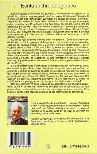 4eme ÉCRITS ANTHROPOLOGIQUES
