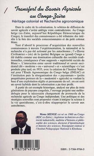 4eme LE TRANSFERT DU SAVOIR AGRICOLE AU CONGO-ZAÏRE