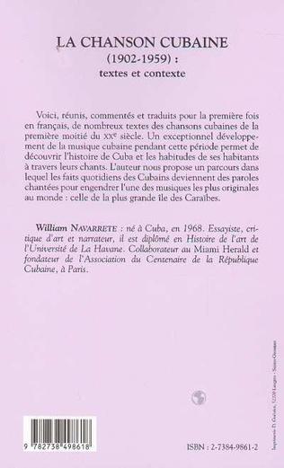 4eme LA CHANSON CUBAINE (1902-1959) : textes et contexte