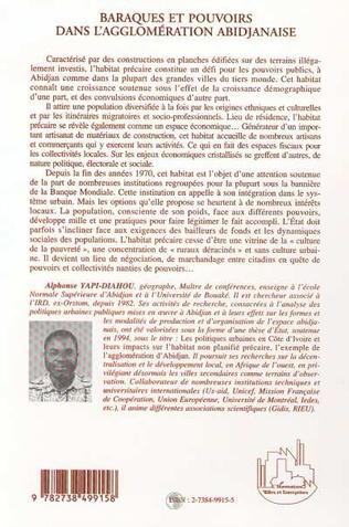 4eme BARAQUES ET POUVOIRS DANS L'AGGLOMÉRATION ABIDJANAISE