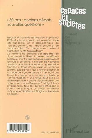 4eme « 30 ANS : ANCIENS DEBATS, NOUVELLES QUESTIONS » (n°101-102)