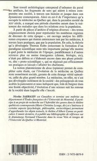 4eme ARCHÉOLOGIE DE LA MÉDECINE AU QUÉBEC