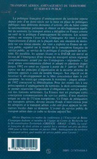 4eme TRANSPORT AÉRIEN AMENAGEMENT DU TERRITOIRE ET SERVICE PUBLIC