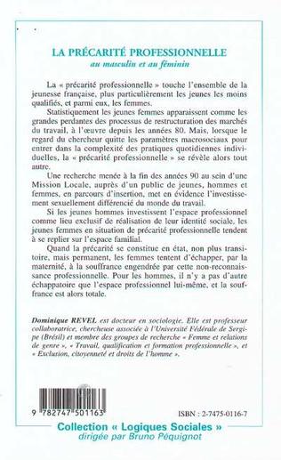 4eme LA PRÉCARITÉ PROFESSIONNELLE AU MASCULIN ET AU FÉMININ