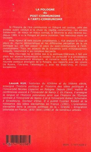 4eme LA POLOGNE DU POST-COMMUNISME A L'ANTI-COMMUNISME