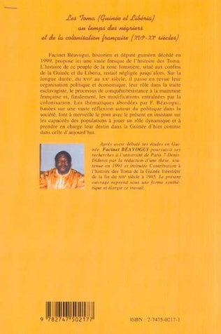 4eme LES TOMA (Guinée et Libéria) AU TEMPS DES NÉGRIERS ET DE LA COLONISATION FRANÇAISE (XVIè – XXè siècles)