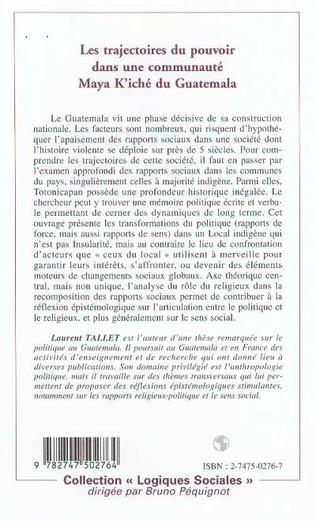 4eme LES TRAJECTOIRES DU POUVOIR DANS UNE COMMUNAUTÉ MAYA K'ICHE DU GUATEMALA