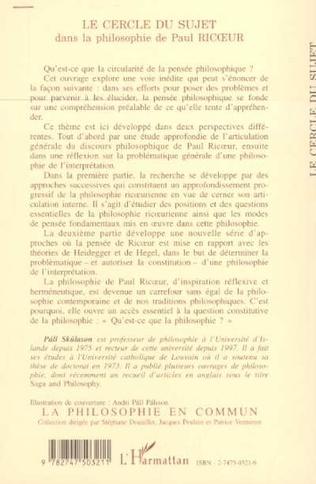 4eme LE CERCLE DU SUJET dans la philosophie de Paul RICOEUR